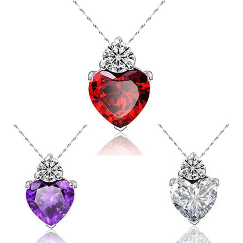 USA Fashion Women Heart Crystal Rhinestone Silver Chain Pendant Necklace Jewelry