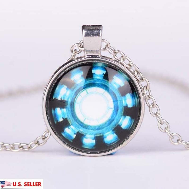 USA Comic Marvel Tony Stark Iron Man Arc Reactor Glass Dome Silver Necklace
