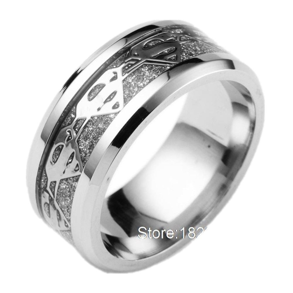 8mm Silver Superman Symbol Men His Titanium Stainless Steel Silver Ring Band