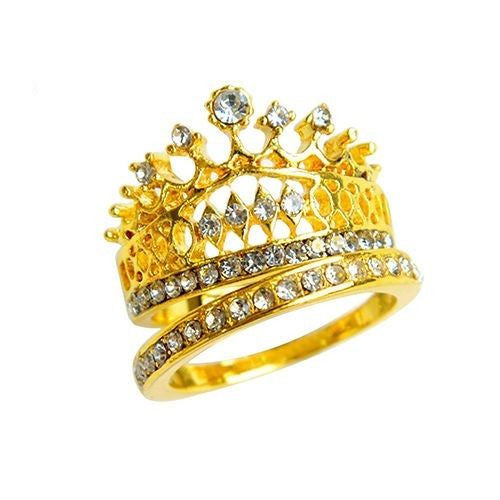 USA Fashion Princess Women Gold Plated Rhinestone Crown Statement Ring Size 5-8