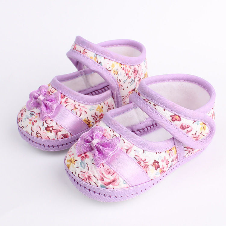 Baby Shoes Girls Flowers Bow Infant Soft Sole Baby First Walker Toddler Shoes