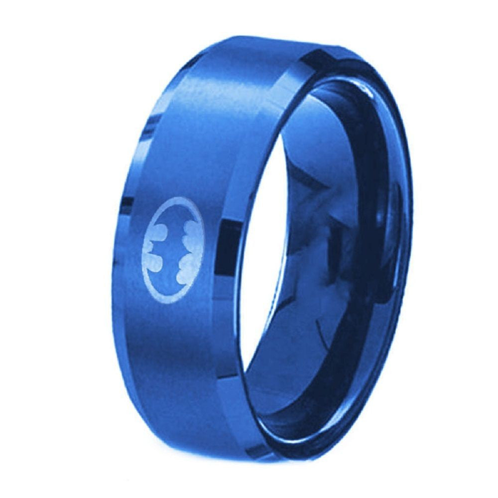 FlyStarJewelry USA 8MM Polished Blue Batman Symbol Ring Titanium Stainless Steel Men Ring Band