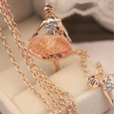 USA 18K Gold Plated Sweater Chain Shiny Crystal Ballet Girl Pendant Necklace