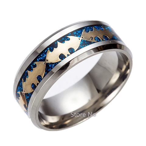 8mm Blue Batman Symbol Men His Titanium Stainless Steel Silver Ring Band