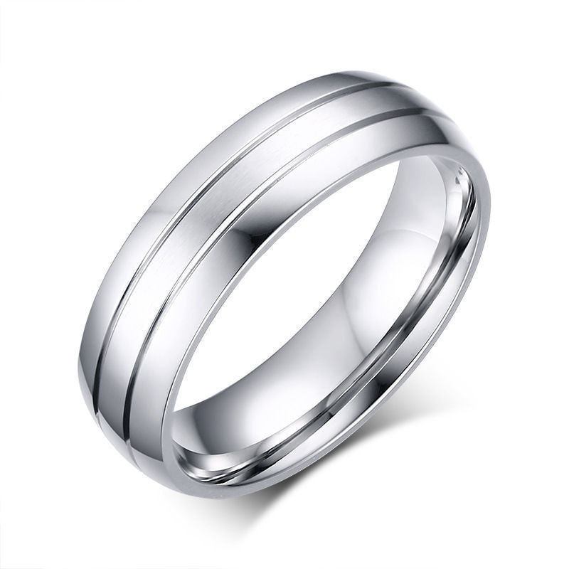 USA 6mm Silver Titanium Stainless Steel Men His Promise Engagement Ring Band