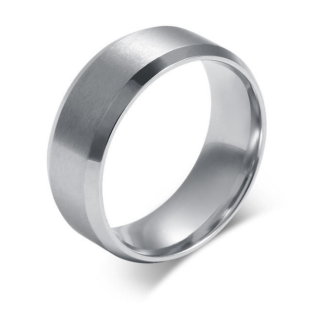 USA 8mm Silver Titanium Stainless Steel Carbide Beveled Edges Silver Unisex Ring