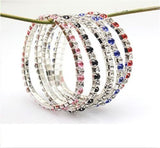 US Women Tennis Silver Rhinestone Crystal Wedding Bridal Bangle Stretch Bracelet