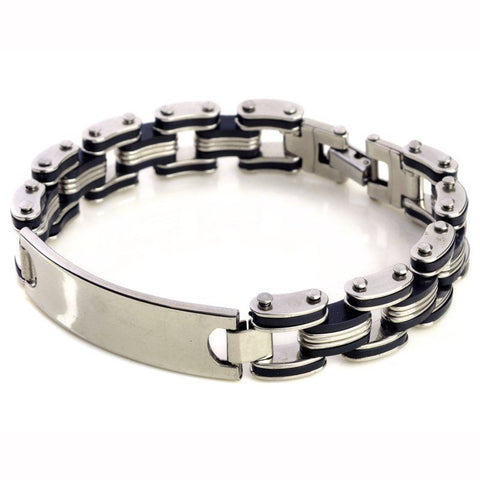 Fashion Men Silver Titanium Steel Black Rubber New ID Bracelet Bangle Wristband