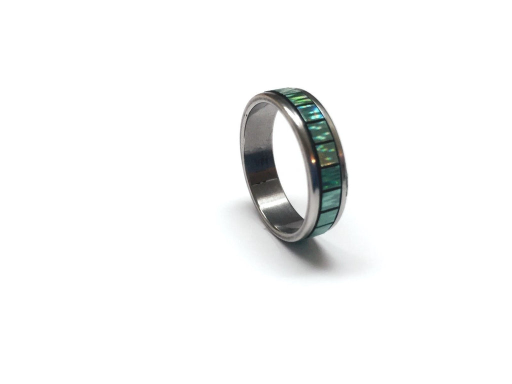 USA Unisex Men Women 5MM Green Square Stainless Steel Green Promise Ring Band
