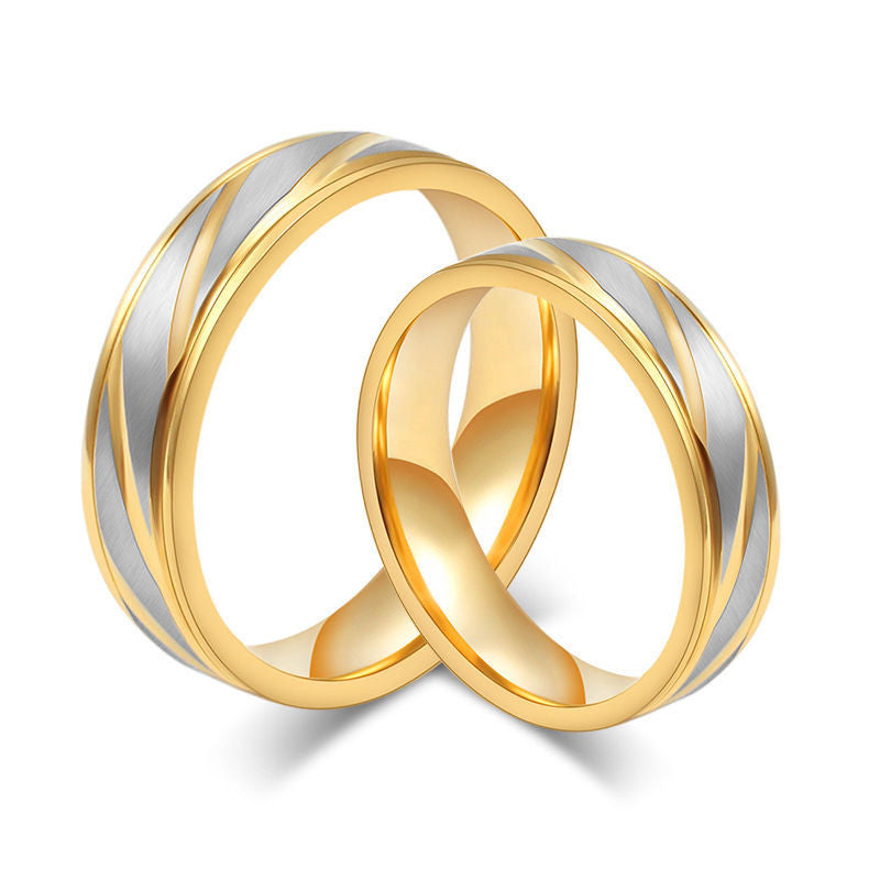 USA 2PCS 18K Gold Plated Titanium Steel Couple Promise Wedding Engagemnt Rings