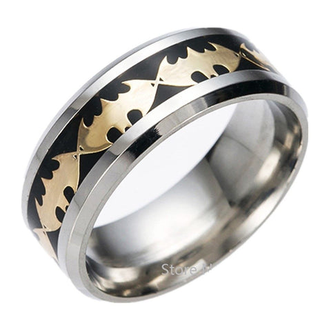 8mm Black Batman Symbol Men His Titanium Stainless Steel Silver Ring Band