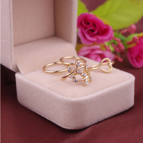 4PCS Set Crystal Charming Ring Above Knuckle Ring Band Rings Urban Gold Plated