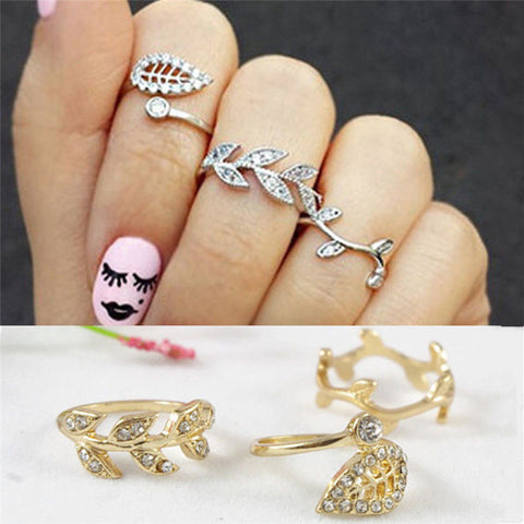 3pcs Women Fashion Silver Alloy Rhinestone Leaf Above Knuckle Finger Midi Rings
