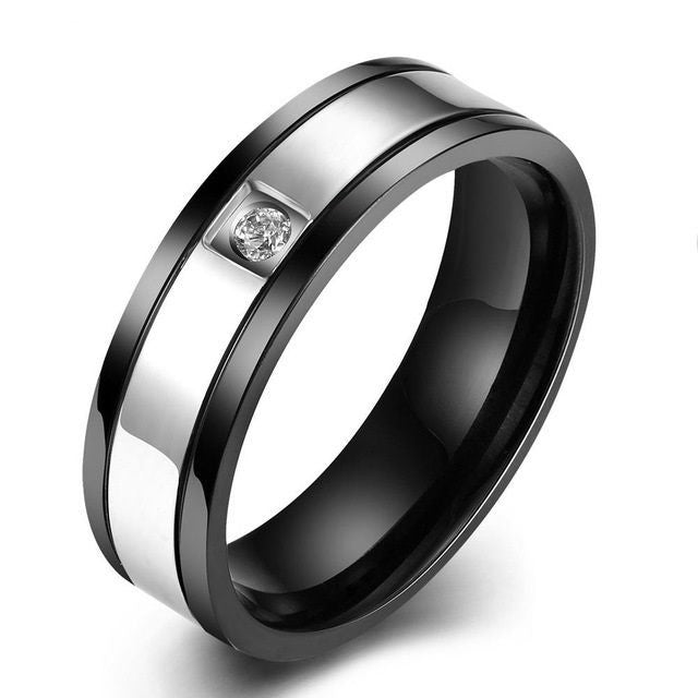 USA 6MM Black & Silver Titanium Steel Promise Engagement Wedding Ring Band