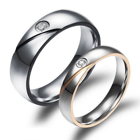 2 PCS Simulated Diamond Couple Ring Promise Engagement Wedding Rings