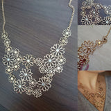 USA Western Style Multilayer Pendants Rhinestone Gold Hollow Flowers Necklace