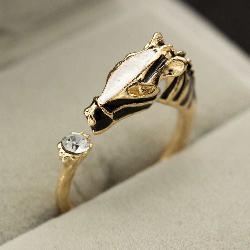 US Vintage Trendy Animal Rings Zebra Horse Head Crystal Women Ring Adjustable Jewelry