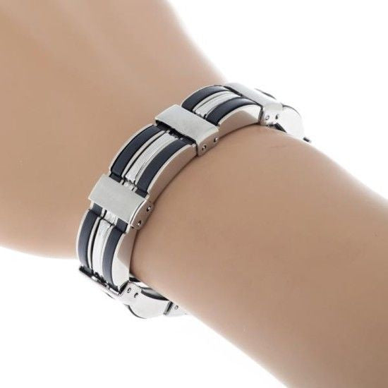 Cool Black Silicone Silver Stainless Steel Link Chain Bracelet Wristband For Men