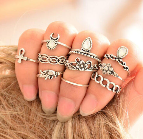 10pcs Women Vintage Above Knuckle Rings Tribal Ethnic Hippie Stone Midi Ring Set