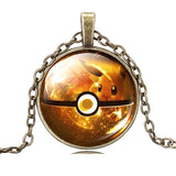 USA Pokemon Go Bronze Chain Cabochon Eevee Pokemon Pokeball Pendant Necklace