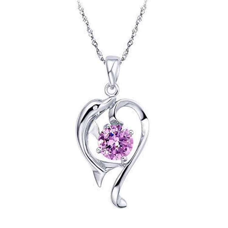 US Lady Sexy Star Purple Crystal Dolphin Love Heart Shape Pendant Charm Necklace