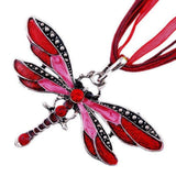 USA Lady Red Dragonfly Charms Necklace Chain Rhinestone Inlay Gemstone Pendant