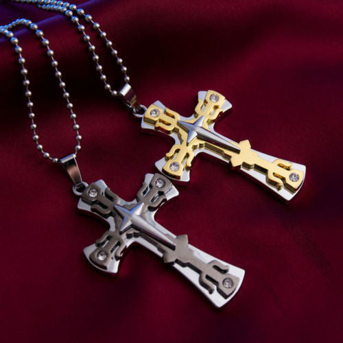 2Pcs Men Women Gold & Black Stainless Steel Cross Pendant Couple Necklace Chain