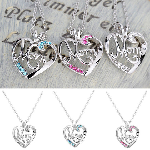 Charming Love Mother's Day Gift Mom Charm Silver Crystal Heart Pendant Necklace