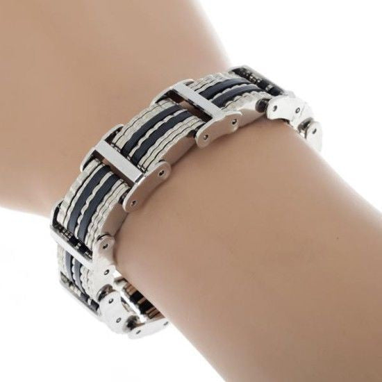 Black Silicone Silver Color Stainless Steel Zig Zag Style Men Bracelet Bangle