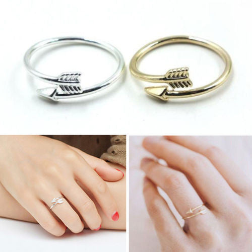 USA Couple Love Arrow Adjustable Ring Fashion Gold Silver Open Rings Jewelry