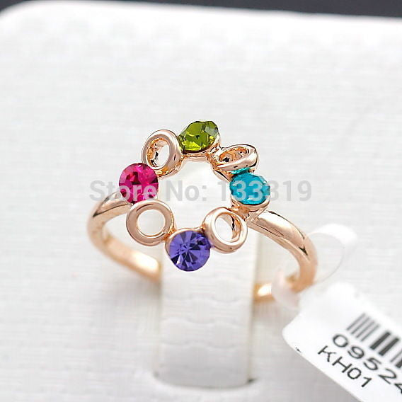 USA Gold Plated Happiness Ferris wheel Multi-color Rhinestone Women's Ring