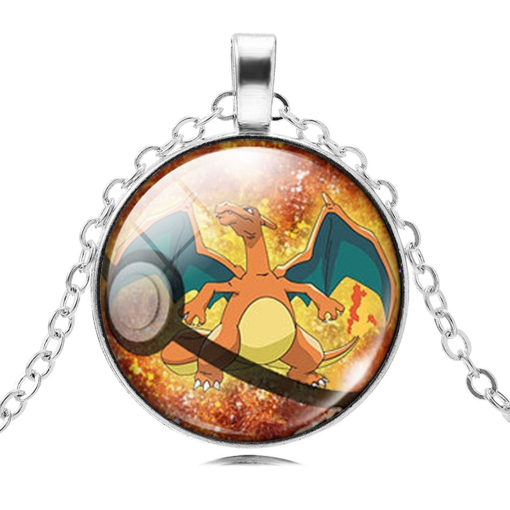 USA Pokemon Go Silver/Bronze Chain Cabochon Charizard Pokemon Pendant Necklace