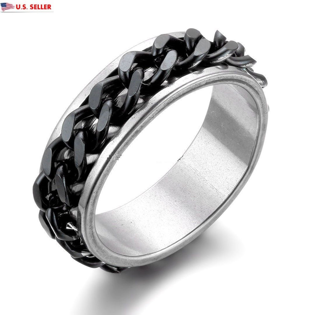 USA 7MM Black Chain Silver Stainless Steel Promise Engagement Couple Ring