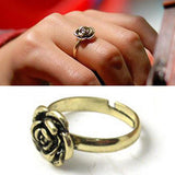 US New Fashion Vintage Cute Simple Rose Flower Ring Chic Adjustable Finger Ring