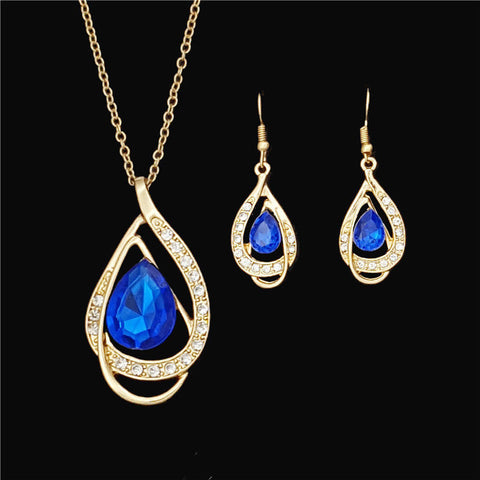 18K Gold Plated Wedding Women Bridal Accessories Crystal Earring Necklace Set
