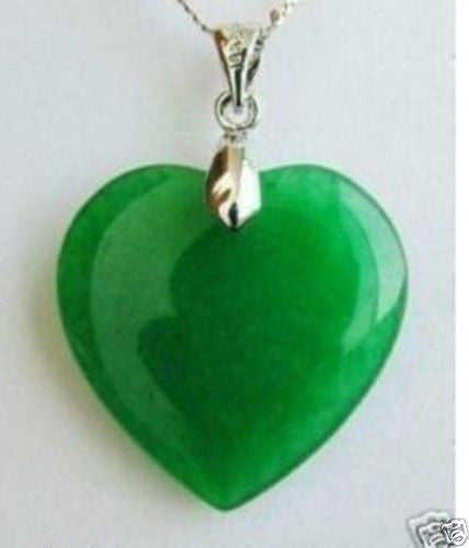 USA Fashion Jewelry Green Jade Heart Shape Silver Emerald Pendant Necklace