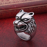 Game of Thrones Ice Wolf Ring Stainless Steel Wolf Head Ring Band