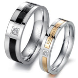 2pcs Simulated Diamond Titanium Steel Couple Ring Promise Wedding Matching Rings