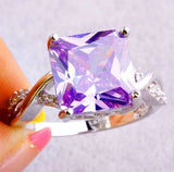 USA Charm Especial Tourmaline Purple Crystal Gemstone Women Jewelry Silver Ring