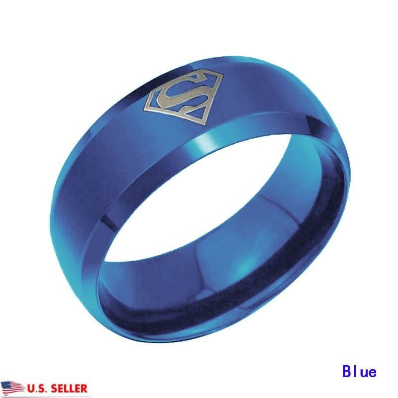 USA 8mm Blue Superman Symbol Men His Tungsten Stainless Steel Ring Band
