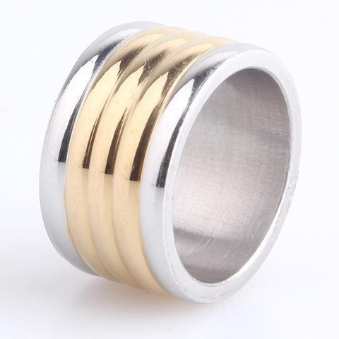 12mm Silver Border Gold Stripes 316L Stainless Steel Men Engagement Wedding Ring
