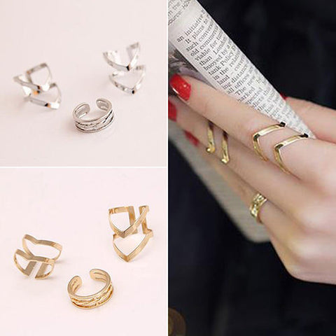 3PCS Midi Finger Ring Set Silver Gold Plated Stack Above Knuckle Band Cute Rings
