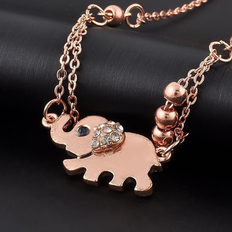 USA Rose Gold Elephant Pendant Chain Anklet Beach Sandal Barefoot Foot Bracelet