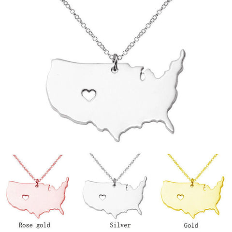 18K Rose Gold, Silver, Gold Plated United Stated Heart America Map Necklace