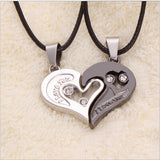 USA Heart Shaped Couple I Love You Stainless Steel Pendant Leather Necklace