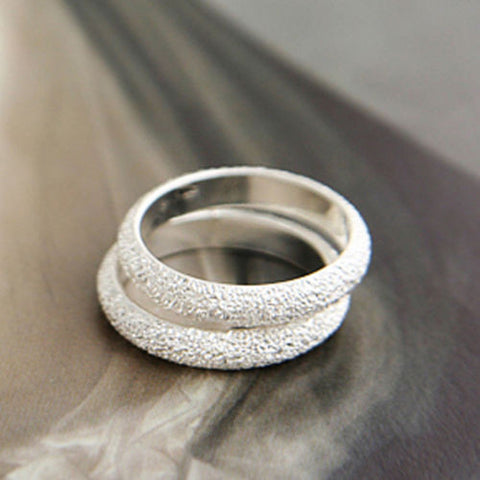 1pcs Korea Simple New Hot Silver Plated Frosted Ring Women fashion Jewelry