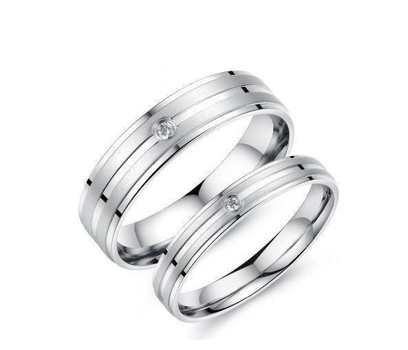 USA 2pcs Titanium Stainless Steel Couple Ring Engagement Promise Matching Rings