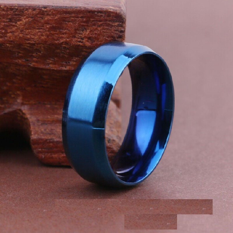 USA 8MM Blue Titanium Stainless Steel Carbide Beveled Edges Promise Ring Band