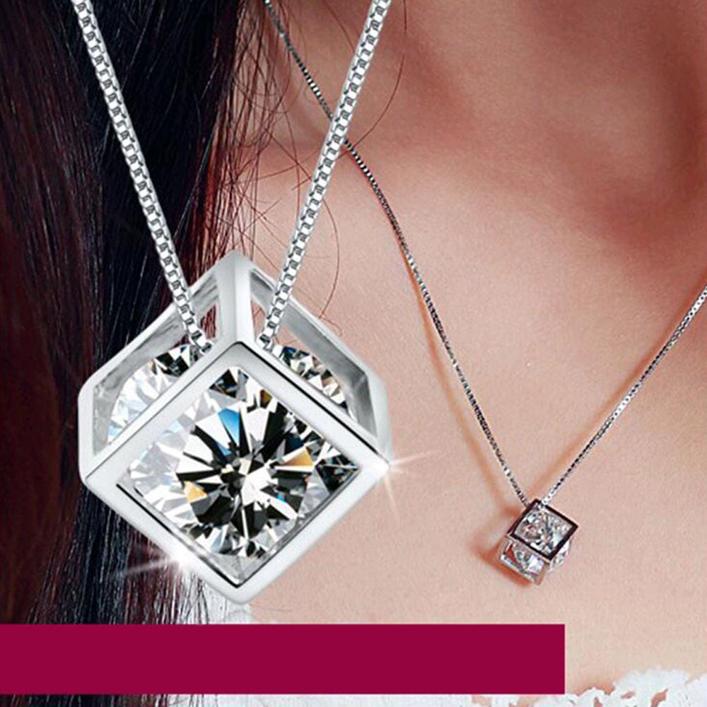 USA Women Jewelry Magic Cube Silver Plated Crystal Chain Necklace Pendant