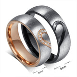 USA Couple Rings Forever Love Heart Brushed Titanium Steel Wedding Promise Band